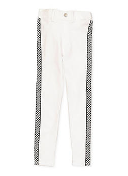 Girls 7-16 Checkered Tape Hyperstretch Jeggings | White - 1602063400082