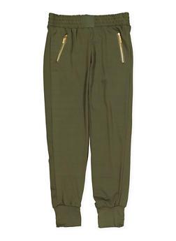 Girls 7-16 Soft Knit Zip Pocket Joggers | Olive - 1602063400098