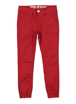 Girls 7-16 Pork Chop Pocket Twill Joggers | Burgundy - 1602065300010