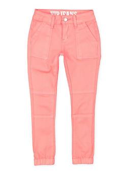 Girls 7-16 Pork Chop Pocket Twill Joggers   Coral - 1602065300017