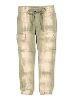 Girls 7-16 VIP Bleached Cargo Denim Joggers | Olive - 1602065300021