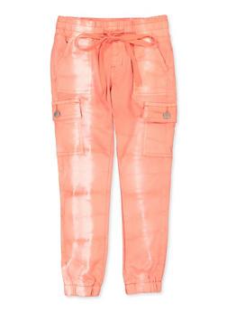 Girls 7-16 VIP Bleached Cargo Denim Joggers | Orange - 1602065300023