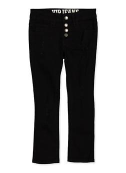 Girls 7-16 Distressed 4 Button Pants | Black - 1602065300031