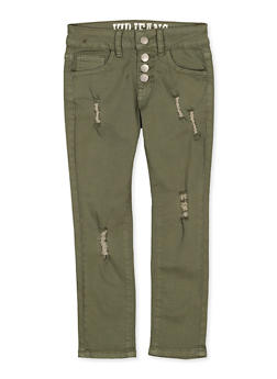 Girls 7-16 Distressed 4 Button Pants | Olive - 1602065300032