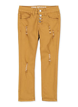 Girls 7-16 Distressed 4 Button Pants - 1602065300033