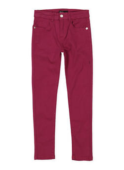 Girls 7-16 Stretch Twill Pants | Burgundy - 1602073990014