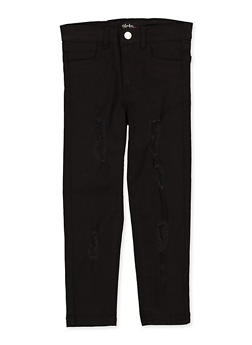 Girls 7-16 Frayed Black Twill Pants - 1602073990025