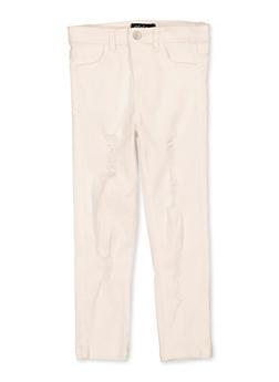 Girls 7-16 Frayed White Twill Pants - 1602073990027