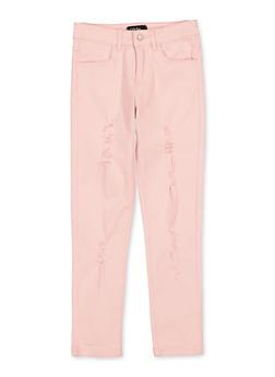 Girls 7-16 Pink Frayed Twill Pants - 1602073990029