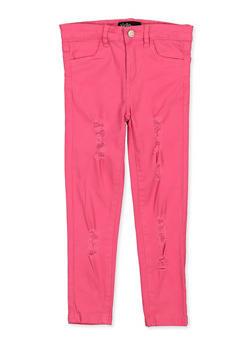 Girls 7-16 Frayed Fuchsia Twill Pants - 1602073990030