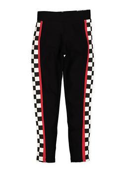 Girls 7-16 Checkered Trim Ponte Pants - 1602074640005