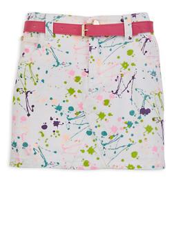Little Girls Paint Splatter Denim Pencil Skirt - 1603038340016