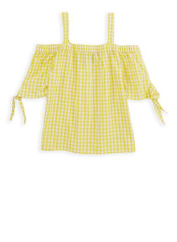 Girls 4-6x Gingham Off the Shoulder Top - 1605038340073