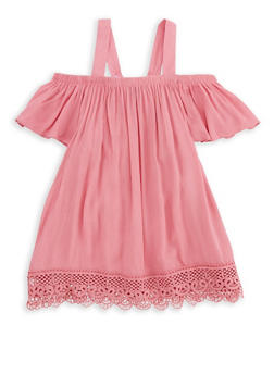 Girls 4-6x Gauze Knit Crochet Trim Top - 1605038340081