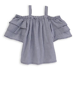 Girls 4-6x Striped Off the Shoulder Top - 1605038340082