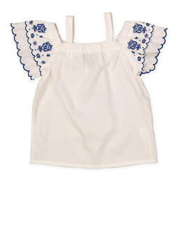 Girls 4-6x Embroidered Sleeve Off the Shoulder Top - 1605038340095