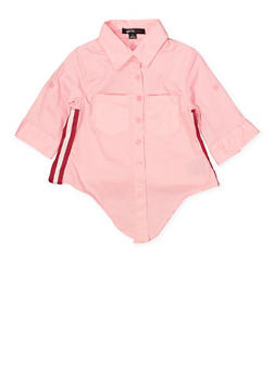 Girls 4-6x Striped Tape Poplin Shirt - 1605038340100