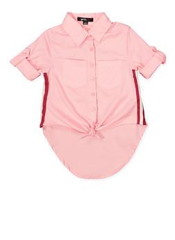Girls 4-6x Striped Tape Tie Front Shirt - 1605038340101
