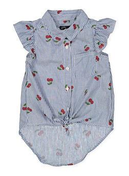Girls 4-16 Cherry Print Striped Shirt - 1605038340105