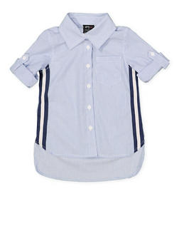 Girls 4-6x Striped Tape Trim Shirt - 1605038340106