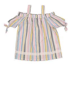 Girls 4-6x Tie Sleeve Off the Shoulder Top - 1605038340108