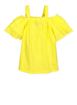 Girls 4-6x Tiered Off the Shoulder Top - 1605038340109