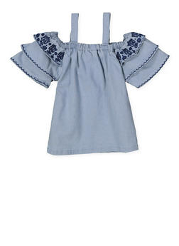 Girls 4-6x Embroidered Denim Top - 1605038340112