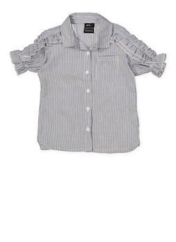 Girls 4-6x Ruffle Sleeve Striped Shirt - 1605038340119