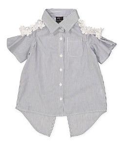 Girls 4-6x Crochet Trim Striped Shirt - 1605038340120