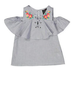 Girls 4-6x Lace Up Embroidered Cold Shoulder Top - 1605038340123
