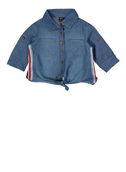 Girls 4-6x Striped Tape Tie Waist Denim Shirt - 1605038340124