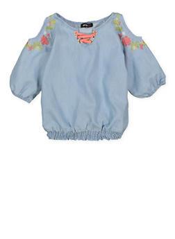 Girls 4-6x Embroidered Denim Cold Shoulder Top - 1605038340125