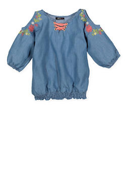 Girls 4-6x Embroidered Denim Cold Shoulder Top - 1605038340125