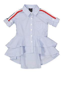 Girls 4-6x Striped High Low Shirt - 1605038340129