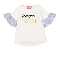 Girls 4-6x Unique and Amazing Striped Sleeve Top - 1605048370005