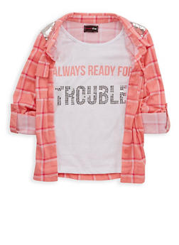 Girls 4-6x Sequin Plaid Button Front Top - 1605073990001