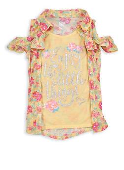 Girls 7-16 Graphic Floral Cold Shoulder Top - 1606023130001