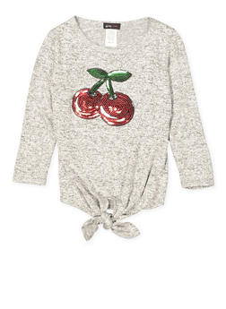 Girls 7-16 Sequin Cherry Graphic Knit Top - 1606029890002