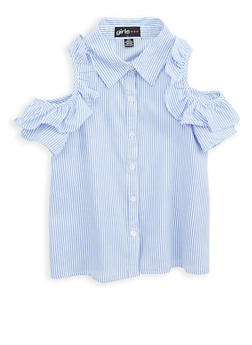 Girls 7-16 Striped Button Front Top - 1606038340093