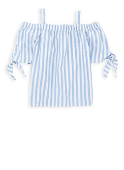 Girls 7-16 Striped Off the Shoulder Top - 1606038340103