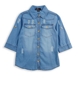 Girls 7-16 Distressed Button Front Denim Shirt - 1606038340106