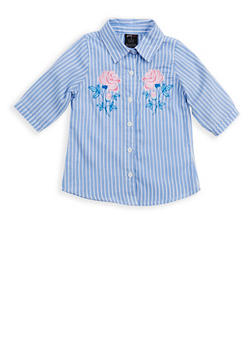 Girls 7-16 Embroidered Button Front Shirt - 1606038340118