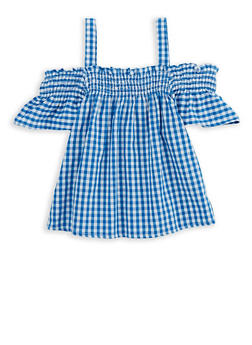 Girls 3T-16 Gingham Off the Shoulder Top - 1606038340120