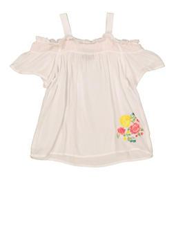 Girls 5-16 Floral Embroidered Off the Shoulder Top - 1606038340132