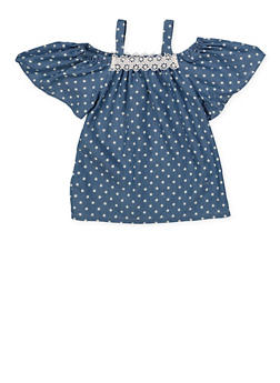 Girls 7-16 Polka Dot Off the Shoulder Top - 1606038340134
