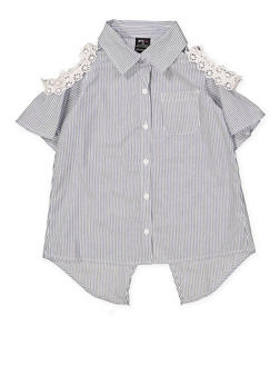 Girls 7-16 Crochet Trim Striped Shirt - 1606038340137