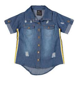 Girls 7-16 Striped Tape Denim Shirt - 1606038340138