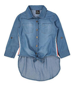 Girls 7-16 Striped Tape Tie Waist Denim Shirt - 1606038340141