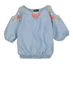Girls 7-16 Embroidered Denim Cold Shoulder Top - 1606038340142