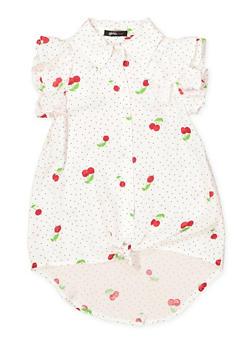 Girls 6x-16 Cherry Print Button Front Shirt - 1606038340143